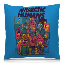 """Подушка 40х40 с полной запечаткой """"Antarctic Humans"""" - обезьяна, рок музыка, рок группа, арт прикол, antarctic monkeys"""