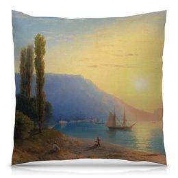 """Подушка 40х40 с полной запечаткой """"Закат в Ялте (картина Айвазовского)"""" - картина, пейзаж, живопись, крым, айвазовский"""