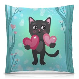 """Подушка 40х40 с полной запечаткой """"Любовь кота"""" - кот, животные, котенок"""