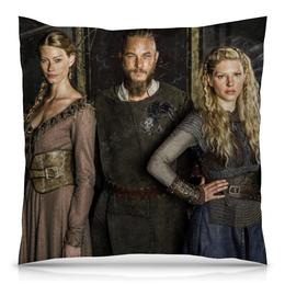 "Подушка 40х40 с полной запечаткой ""Викинги. Рагнар"" - викинги, vikings, рагнар, сериал викинги"