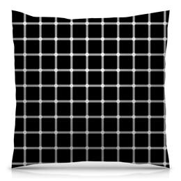 """Подушка 40х40 с полной запечаткой """"Чёрная клетка"""" - иллюзия, оптика, чёрная клетка"""