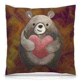 """Подушка 40х40 с полной запечаткой """"Медведь"""" - сердце, любовь, день святого валентина, мишка, медвежонок"""
