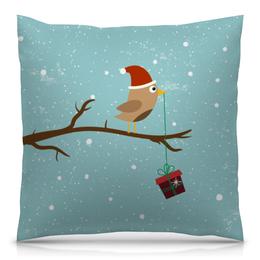 """Подушка 40х40 с полной запечаткой """"Подарочек"""" - подарок, птичка, рождество, санта, merry christmas"""