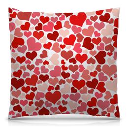 """Подушка 40х40 с полной запечаткой """"Сердечки"""" - сердце, любовь"""