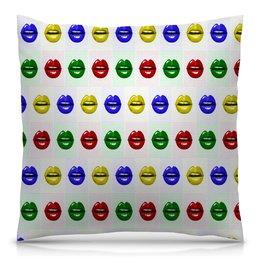 """Подушка 40х40 с полной запечаткой """"Цветные губы"""" - губы, поп-арт, улыбка, краски, помада"""