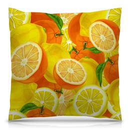 """Подушка 40х40 с полной запечаткой """"Цитрусовая"""" - цитрусы, апельсин, лимон, фрукты, красочный"""