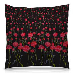 """Подушка 40х40 с полной запечаткой """"Гвоздики"""" - цветы, красные, гвоздики"""