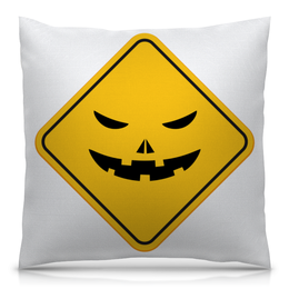 """Подушка 40х40 с полной запечаткой """"Треугольник"""" - знак, треугольник, улыбка, желтый"""