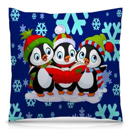 """Подушка 40х40 с полной запечаткой """"Пингвины"""" - снежинки, пингвины, зима, новый год, синий"""