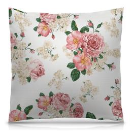 """Подушка 40х40 с полной запечаткой """"Цветочный принт"""" - цветок, роза, букет, шиповник, бутон"""