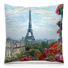 "Подушка 40х40 с полной запечаткой ""Эйфелева башня"" - графика, франция, париж, эйфелева башня"
