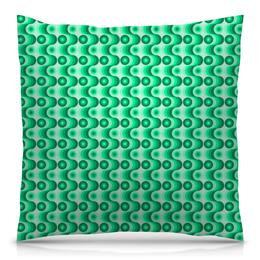 """Подушка 40х40 с полной запечаткой """"Ретро #1"""" - волны, круги, зеленый, светлый, темный"""