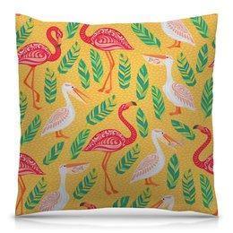 """Подушка 40х40 с полной запечаткой """"Птицы"""" - листья, птицы, природа, фламинго, пеликан"""