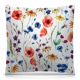 """Подушка 40х40 с полной запечаткой """"Цветы"""" - красиво, цветы, природа, полевые цветы"""