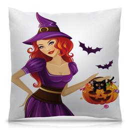"""Подушка 40х40 с полной запечаткой """"Ведьмочка"""" - арт, хэллоуин, стиль, деньвсехсвятых"""