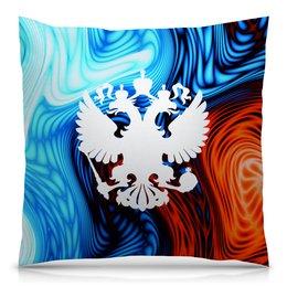 "Подушка 40х40 с полной запечаткой ""Краски"" - россия, герб, russia, орел, флаг"