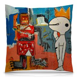 """Подушка 40х40 с полной запечаткой """"Basquiat / Баския"""" - граффити, корона, стрит арт, баския, снуппи"""