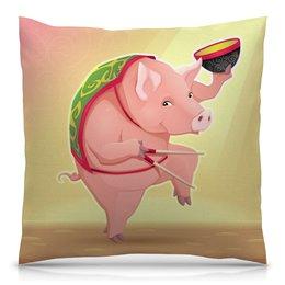 """Подушка 40х40 с полной запечаткой """"Свинья"""" - новый год, 2019, год свиньи"""