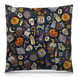 "Подушка 40х40 с полной запечаткой ""Хэллоуин"" - череп, хэллоуин, тыква, летучая мышь"