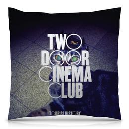 """Подушка 40х40 с полной запечаткой """"Tourist History"""" - music, инди, indie rock, two door cinema club, кот"""