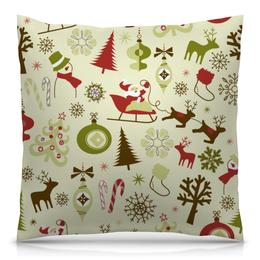 """Подушка 40х40 с полной запечаткой """"Новогодняя"""" - новый год, санта клаус, снеговик, ёлка"""