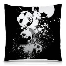 """Подушка 40х40 с полной запечаткой """"Мячики"""" - футбол, игры, спорт, огонь, мячи"""