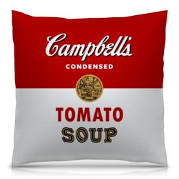 """Подушка 40х40 с полной запечаткой """"Суп Кэмпбелл"""" - арт, поп арт, энди уорхол, суп кэмпбелл, campbells soup can"""