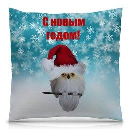 """Подушка 40х40 с полной запечаткой """"Новый год"""" - новый год, снег, сова, снежинки, дед мороз"""