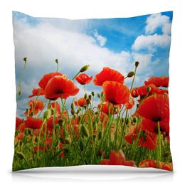 """Подушка 40х40 с полной запечаткой """"Поле маков"""" - цветы, весна, природа, мак, поле"""