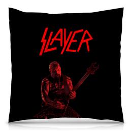 "Подушка 40х40 с полной запечаткой ""Slayer"" - рок, slayer, хэви метал, хардрок, слейер"