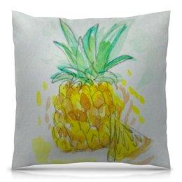 """Подушка 40х40 с полной запечаткой """"Ананас"""" - лето, ананас, фрукт, сочный, вкусный"""