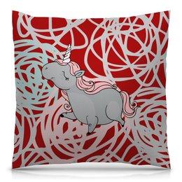 """Подушка 40х40 с полной запечаткой """"Единорог"""" - цветы, лошадь, мульт, кони, единорог"""