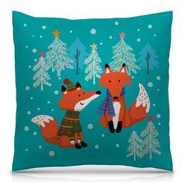 """Подушка 40х40 с полной запечаткой """"Зимние лисички"""" - зима, fox, елки, лисы, новый год 2019"""