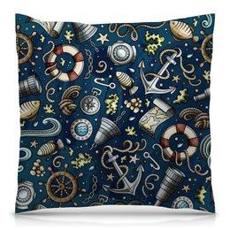 """Подушка 40х40 с полной запечаткой """"Моряк"""" - море, якорь, волны, штурвал, компас"""