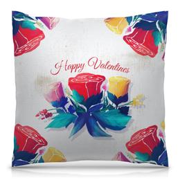 """Подушка 40х40 с полной запечаткой """"День святого Валентина"""" - любовь, день святого валентина, 14 февраля, роза, день влюбленных"""