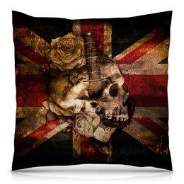 "Подушка 40х40 с полной запечаткой ""Череп конфедерата"" - череп, флаг, розы, united kingdom, флаг конфедерации"