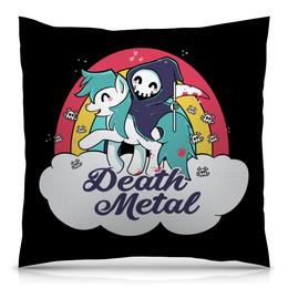 """Подушка 40х40 с полной запечаткой """"Death Metal"""" - приколы, радуга, пони, смерть, death metal"""