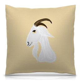 """Подушка 40х40 с полной запечаткой """"Голова белого козла"""" - голова, злость, изумление, белый козел, удивленный козел"""