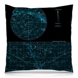 """Подушка 40х40 с полной запечаткой """"Карта звёздного неба"""" - карта, дизайн, звёзды"""