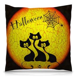 """Подушка 40х40 с полной запечаткой """"Хэллоуин"""" - кошка, хэллоуин, черный, котята, паутина"""