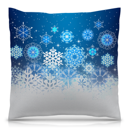 """Подушка 40х40 с полной запечаткой """"Узор зимний"""" - новый год, узор, зима, снег, снежинки"""