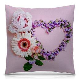 """Подушка 40х40 с полной запечаткой """"Роза, гербера и пион"""" - сердце, любовь, цветы, день святого валентина, день влюблённых"""