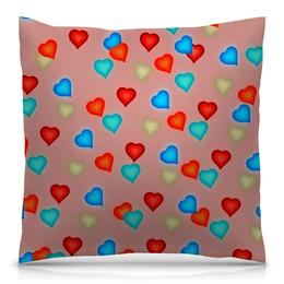 """Подушка 40х40 с полной запечаткой """"Сердечки"""" - сердечки, любовь, сердца, день святого валентина, я люблю"""