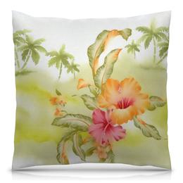"""Подушка 40х40 с полной запечаткой """"Тропические цветы, пальмы"""" - цветок, пальма, листья, акварель, тропики"""