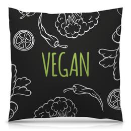 """Подушка 40х40 с полной запечаткой """"Vegan"""" - природа, веган, vegan, go vegan, этика"""