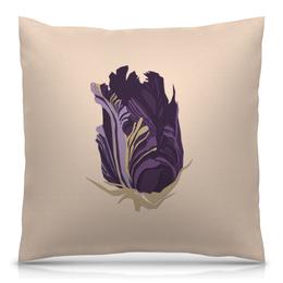 "Подушка 40х40 с полной запечаткой ""Purple tulip"" - арт, цветок, рисунок, абстракция, тюльпан"