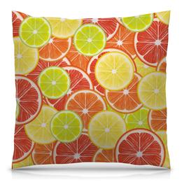 """Подушка 40х40 с полной запечаткой """"Цитрусы"""" - апельсин, лайм, лимон, грейпфрут, дольки"""
