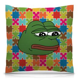"""Подушка 40х40 с полной запечаткой """"Грустная лягушка"""" - мем, meme, грустная лягушка, sad frog, pepe frog"""