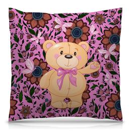 """Подушка 40х40 с полной запечаткой """"Мишка и бабочки"""" - бабочки, цветы, медведь, мишка"""