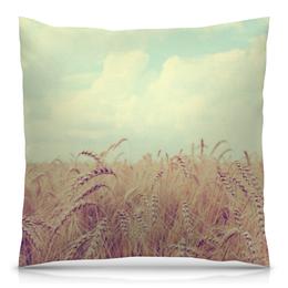 """Подушка 40х40 с полной запечаткой """"Поле (Природа)"""" - небо, колосья, пшеница"""